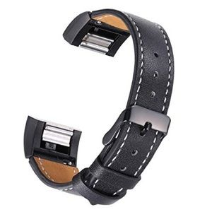Accessories - Black Leather Band Compatible for Fitbit Charge 2.